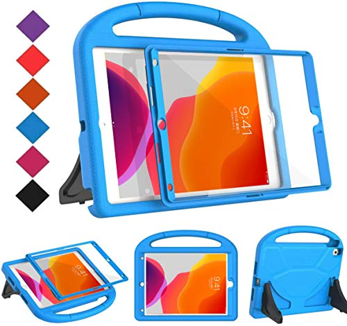 BMOUO Kids Case for New iPad 10.2 2020/2019 - iPad 8th/7th Generation Case with Built-in Screen Protector, Shockproof Light Weight Handle Stand Kids Case for iPad 10.2 2020/2019 Latest Model - Blue
