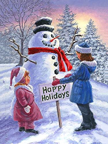 PHTDCQ Pittura diamante 5D Natale pupazzo di neve incollato disegno arti per numero kit ricamo diamante fai da te felice vacanza per adulti regalo fatto a mano trapano rotondo mosaico cristallo decora