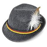 Melesh Adult Felt German Alpine Bavarian Oktoberfest Hat Cap for Men (L) Gray