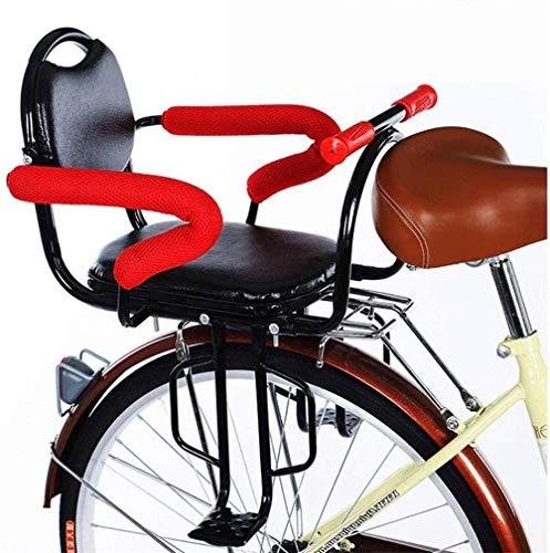 DGHJK Asiento de Seguridad para Bicicleta para bebés, Montaje Trasero con reposabrazos/Respaldo y Pedales, Valla Desmontable para niños de 2 a 6 años