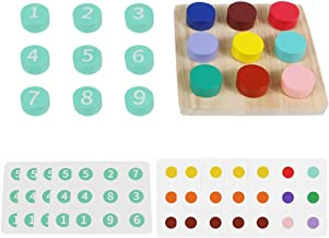 TOYMYTOY Wooden Number Puzzle Sorting Toy Shape Number Matching Sorter Counting Game Preschool Montessori Education Math L...