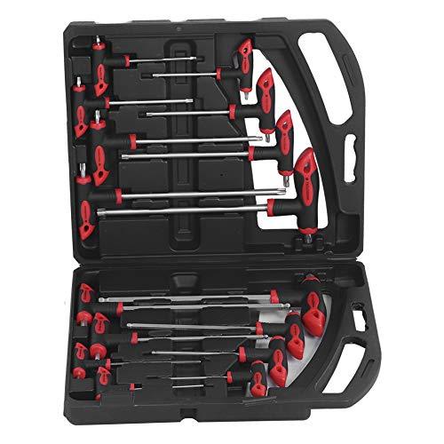 Inbusschlüsselsatz, 16-tlg. T-Griff Sechskantschlüsselschlüssel Set Kugelkopf 2 Antrieb Schraubendreher Reparatur Handwerkzeuge