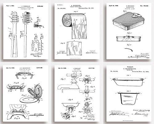 Bagno brevetto stampe–Set di 6–Quirky regalo per il bagno (senza cornice)