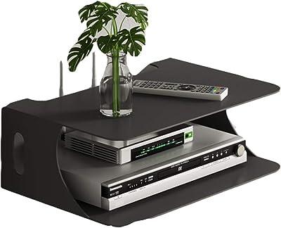 Shelf WiFi Router Caja de Almacenamiento de Madera de Hierro Montaje en la Pared Set Top Box Estante Dormitorio Sala de Estar Partición Blanco Negro 28 * 20 * 10 cm (Color : Black (B))