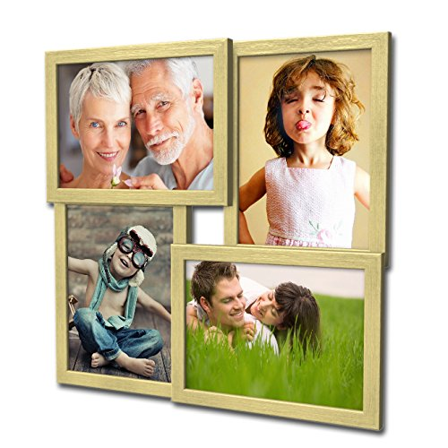 Artepoint 405 Fotogalerie für 4 Fotos 13x18 cm - 3D Optik - Bilderrahmen Bildergalerie Fotocollage Rahmenfarbe Gold gebürstet