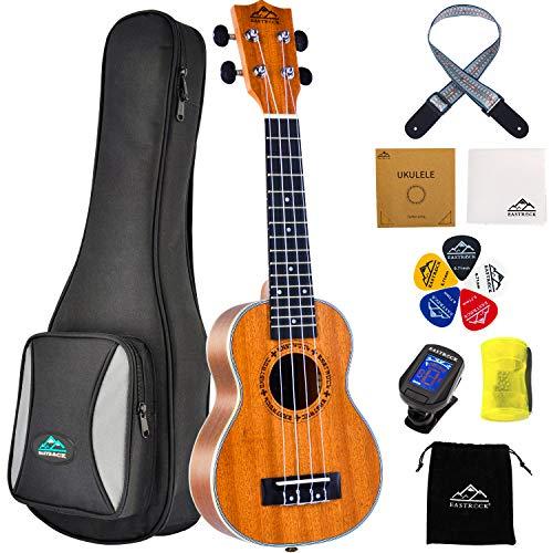 EastRock Sopran Ukulele Anfänger 21 Zoll Massivholz Ukulele Kleine hawaiianische Gitarren Ukulelen für Kinder Anfänger Erwachsene mit Tasche (21 Zoll, Sapele)