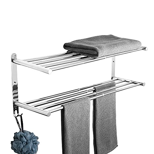 伸縮可能な新型 304ステンレス製タオルハンガー 2段式 タオル掛け 強力3M 粘着 バスルーム用 壁掛け式 穴なし取り付け 穴あけ取り付け 洗面所 キッチン省スペース 43-78cm (シェルフ - 2層)