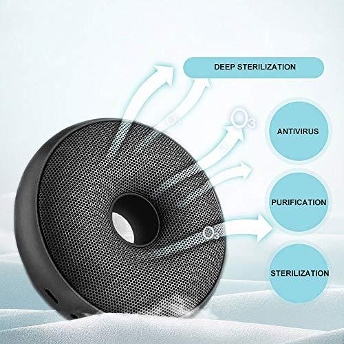 FreeLeben Mini Generador De Ozono Purificador De Aire Doméstico Esterilización Recargable USB Desodorización Tipo De Rosquilla Adecuado para Dormitorio, Automóvil, Oficina, Refrigerador (Negro)