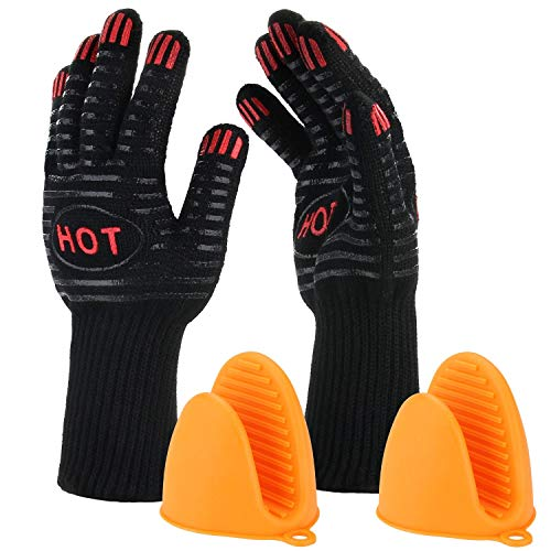 BBQ Grill Gloves, 932℉ Heat Resistant Grilling Gloves, 14' Extremely Cooking Oven Mitts for Barbecue, Frying & Baking - Grill & Kitchen Accessories (1 Pair) - Silicone Pot Holder As Bonus (446℉)