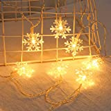 Iusun Christmas Decorations Light 20LED Plastic Snowflake Shape Lantern Ornament Craft Xmas Tree Tabletop Wedding Party Holiday Home Decor Pendant (White)