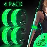 Arovina Brazalete LED Reflectante de Seguridad con luz LED para Correr, Correr, Ciclismo, pasear al Perro y Actividades al Aire Libre (+ 2 baterías más), Verde