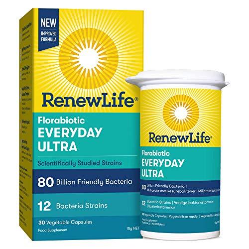 Renew Life 'Everyday Ultra' 80 Billion Friendly Bacteria | 12 Bifidobacterium and Lactobacillus | High Potency | 30 Capsules
