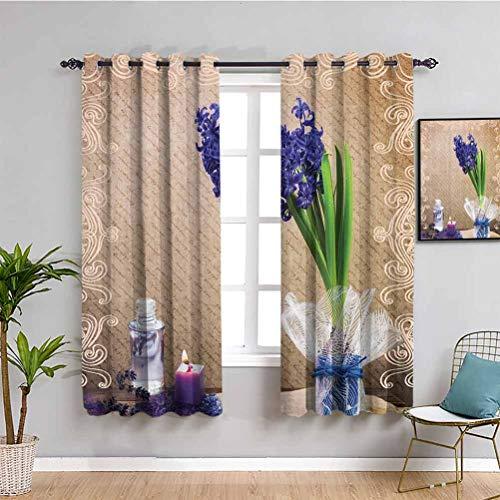 Cortina de armario con velas y jacintos de flores naturales, decoración romántica de baño de Zen Spa con colorido florero cortina de interior púrpura, verde marrón, ancho 42 x largo 63 pulgadas