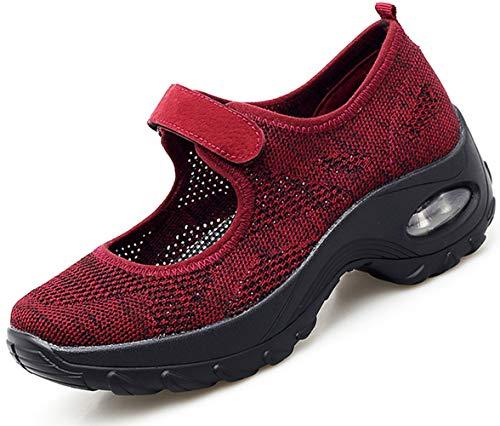 Vorgelen Sandalias Deportivas de Mujer Malla Ligero Plataforma Zapatillas Mary Jane Casual Cómodas Respirable Sneakers para Deportes Fitness Correr Trabajar ⭐
