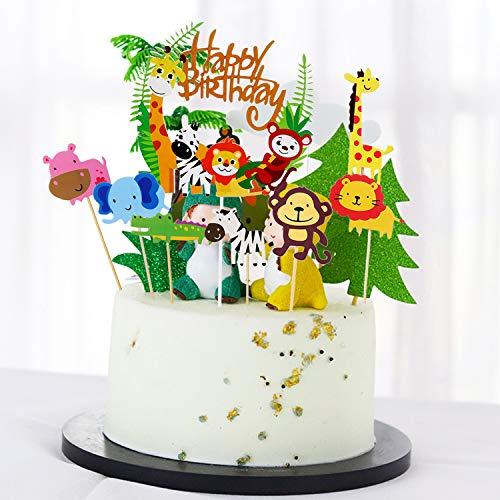 35 Stück Tier Cake Topper+Happy Birthday Dschungel Girlande für Kinder Junge Mädchen,Tier Kuchendeckel Topper für Kinder Tortendeko Kindergeburtstagsfeier (1. 2. 3.Jahre alt Jungen/Mädchen Geburtstag