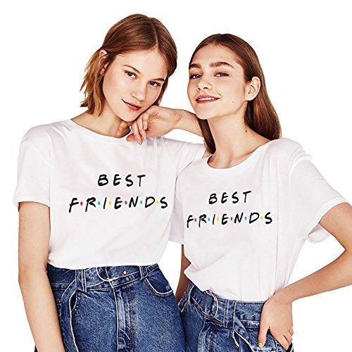 Mejores Amigas Shirt 2 Piezas Impresión Camiseta Best Friend Manga Corta T-Shirt TV Show Cuello Redondo Logo Verano para Mujer Elegante Moda Casual Tumblr(Blanco+Blanco,S+M)