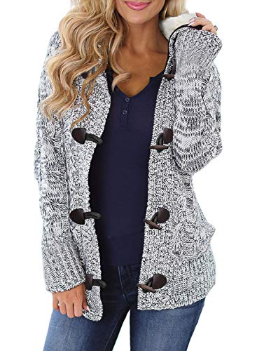 Sidefeel Women Button Up Cardigan Hooded Sweater Coat Outwear with Pockets Large White Grey