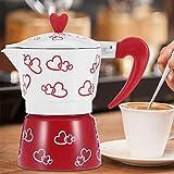Máquina de café exprés roja ligera de estilo italiano clásica, cafetera de café exprés, para hacer café en la oficina capuchino para hacer café con leche(Red Heart Large)