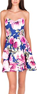 Junior's Strapless Sweetheart Short Floral Party Dress with Asymetric Hem
