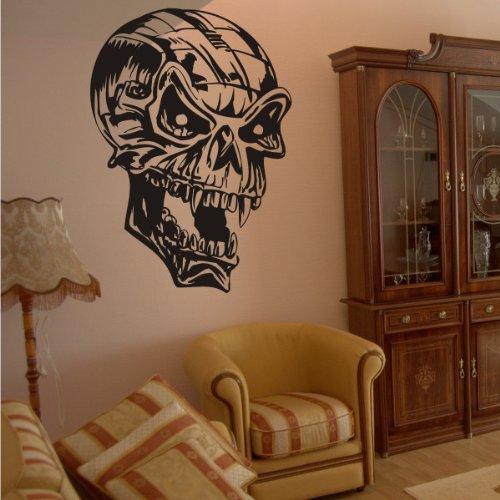 INDIGOS UG - Wandtattoo - Wandaufkleber - w918 Totenkopf Totenschädel - Schädel - Skull - Bones - Wandaufkleber 40X27 cm, schwarz - Wandsticker für Kinderzimmer, Wohnzimmer