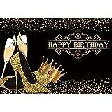 CSFOTO 3x2m Happy Birthday Backdrop Champagne Glitter High Heels Shoes Crown Black Gold Birthday Party Background for Photography Women Girls Birthday Photo Vinyl Backdrop