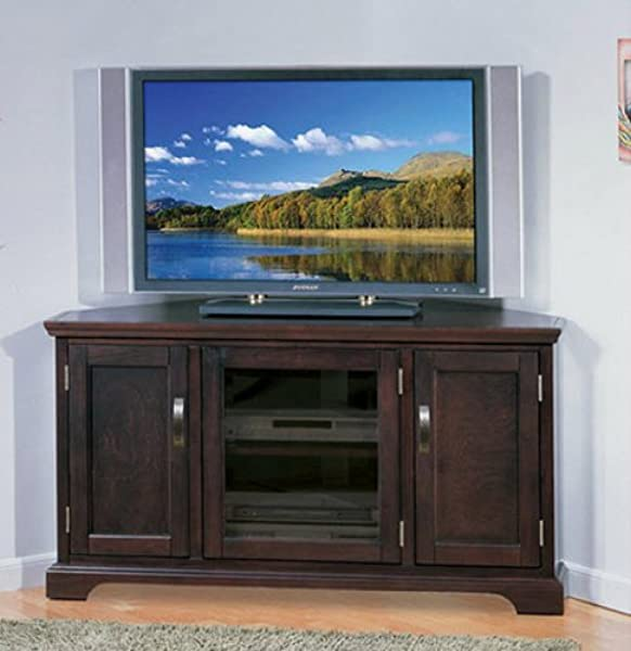 Corner Entertainment Center TV Stand Big Screen TV Media Console Entertainment Units Home Entertainment Center Armoires Chocolate Finish Cherry Wood 50 Inch Television Home Entertainment Center Chocolate Finish Cherry Wood