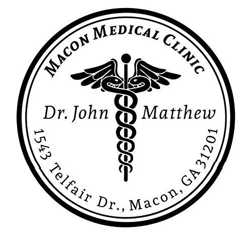 Caduceus Custom Round Medical Clinic Name, Dr. Name, Address Stamp Self Ink Stamp,Medical Stamp