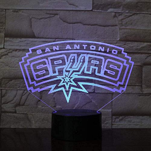 LSDAMN 3D Lamp Spurs San Antonio Present for Teenager for Living Room Decoration Bright Base Led Night Light Lamp Atmosphere