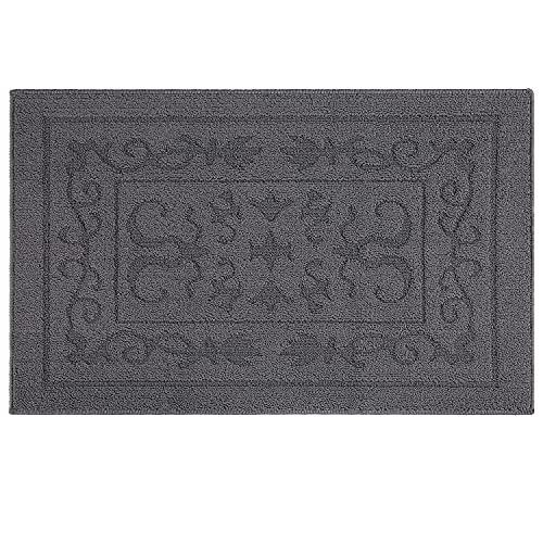 """Indoor Doormat Front Door Mat Non Slip Rubber Back Door Mats Magic Inside Dirt Trapper Entry Rugs Entrance Door Rug Machine Washable Door Carpet Mat for Entryway - Grey, 24""""x 36"""""""
