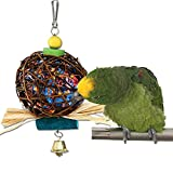 Bird Chew Toy Natural Rattan Ball Come with Paper Strips for Parrot Budgie Parakeet Cockatiel Conure Lovebird Finch Cockatoo African Grey Macaw Cage