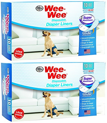 Four Paws Wee-Wee Products Disposable Dog Diaper Super Absorbent Liners, 10 Per Pack, 2.75 inch x 8.25 inch x 4.5 inch