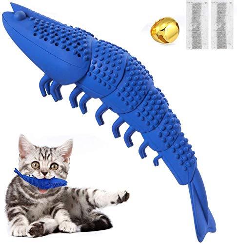 GCXSBF Katzenspielzeug, Zahnbürste, Reinigungsspielzeug für Katzen, interaktives Minzgeschmack, Silikon, Krebsfisch-Form, blau