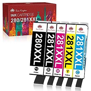 Toner Kingdom Compatible Ink Cartridge Replacement for Canon 280 281 PGI-280XXL CLI-281XXL PGI 280 CLI 281 XXL Ink for PIXMA TR7520 TR8520 TS6120 TS6220 TS6320 TS8120 TS9120 TS9520 Printer  5 Pack