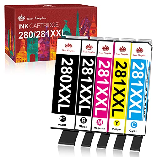 Toner Kingdom Compatible Ink Cartridge Replacement for Canon 280 281 PGI-280XXL CLI-281XXL PGI 280 CLI 281 XXL Ink for PIXMA TR7520 TR8520 TS6120 TS6220 TS6320 TS8120 TS9120 TS9520 Printer (5 Pack)