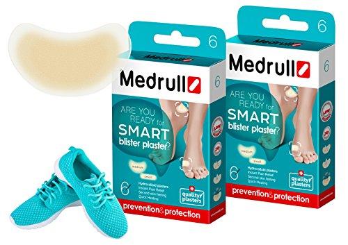 Medrull – Transparent Blasenpflaster – Hydrokolloid Pflaster – Aktiv-Gel Polster – Schnellere Heilung – Blasenpflaster Set 12 (2 x 6) Stück, 2 Größen.