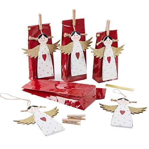 Logbuch-Verlag 5 geschenkzakjes 7 x 20,5 x 4 cm + engel kersthanger - verpakking kerstcadeaus adventskalender