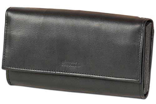 Rinaldo® Kellnerbörse mit extra verstärktem großen Hartgeldfach und Doppel Druckknopf-Verschluss aus glattem Rindsleder in Schwarz