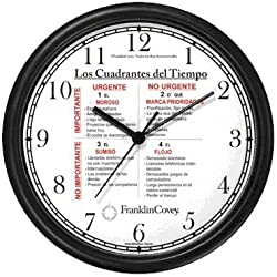 Habit 3 - Time Management Matrix or Quadrants - Teens (Spanish Text)- Wall Clock from THE 7 HABITS - CLOCK COLLECTION by WatchBuddy Timepieces (White Frame)