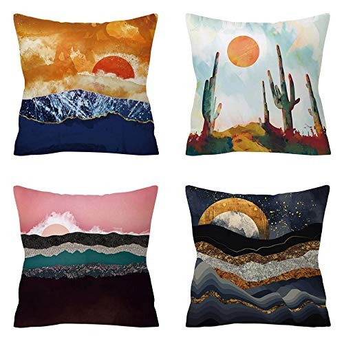 4 PCS Decorative Mountain Art Paintings Cushion Covers Ultra Soft Square Cushion Cover Cotton Linen Throw Pillow Covers Home Decor for Sofa Car Bedroom (#H)