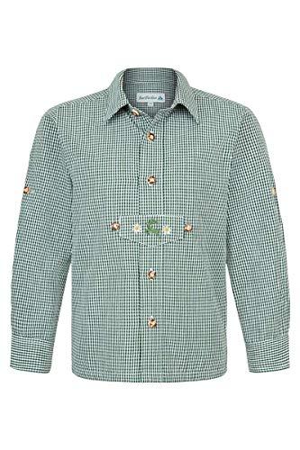 Isar-Trachten Jungen Kinder Trachten Hemd mit Pfoad und Stickerei kariert Tanne, Tanne, 164