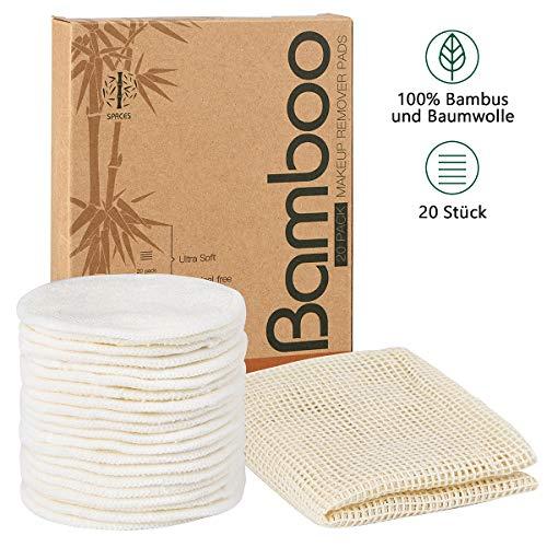SPACES Waschbare Abschminkpads| 20 Stück Wiederverwendbare Wattepads aus Bambus und Baumwolle | Umweltfreundlich |Weich & Schonend Abschminktücher | INKL. Wäschenetz |Perfekt für Gesichtsreinigung