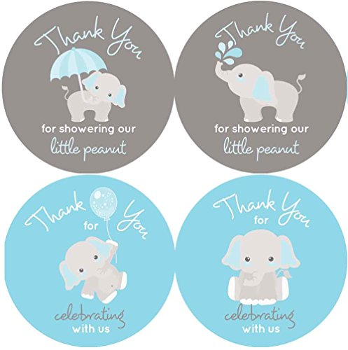 2 Inch Thank You Stickers Boy Baby Shower Favors Gray Elephant 60 Labels (Blue)