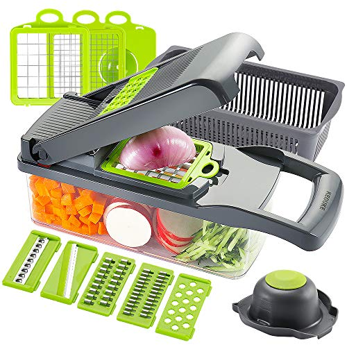 KEOUKE Vegetable Chopper Slicer Dicer - 12 -in -1 Onion Chopper Fruits Cutter Mandoline Slicer Food Chopper/Cutter with 7 Stainless Steel Blades, Adjustable Slicer & Dicer with Storage Container