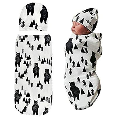 Newborn Swaddle Sack with Baby Hat Set Sleeping Sack Soft Stretchy Cotton for 0-3 Months Baby Boys Ink Bear Print by TIANNUOFA by Tiannuofa