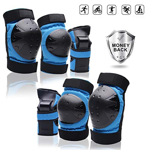 Protective Gear Set forYouth/Adult Knee Pads Elbow Pads Wrist Guards for Skateboarding Roller Skating Cycling Bike BMX Bicycle Scootering 3Pairs (Blue, Large)