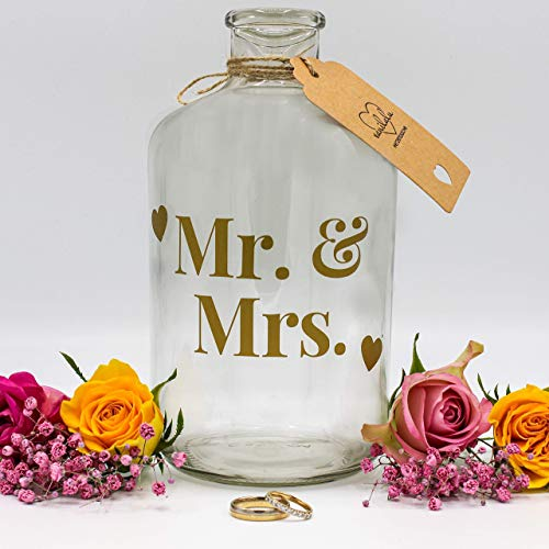 Vanilalu - Große Spardose für Münzen - Mr. & Mrs. - Hochzeitskasse oder Hochzeitsgeschenk für das Brautpaar und frisch verliebte Paare