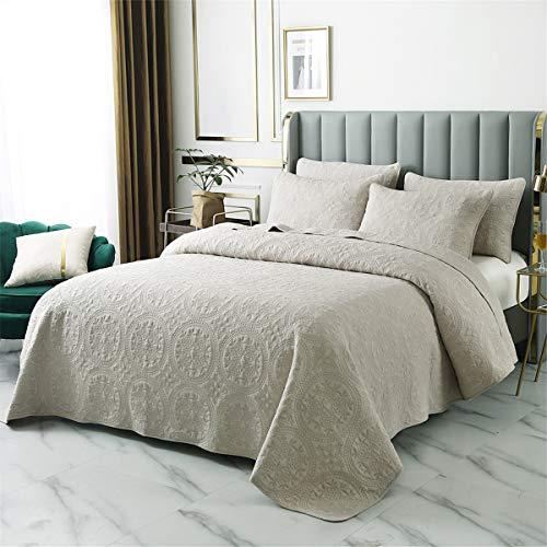 Colcha acolchada king tamaño liso beige 3 piezas algodón bordado cobre patrón de moneda reversible edredón 230x250cm cubierta de cama juego con 2 funda de almohada 50x70cm