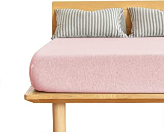 AOEMON ボックスシーツ 綿100% 天竺ニット マットレスカバー ベッドシーツ 肌触りの良い シーツ オーガニックコットン 抗菌防臭 マチ部分約30cm 丸洗い可能 (ピンク, シングル・100X200cm)