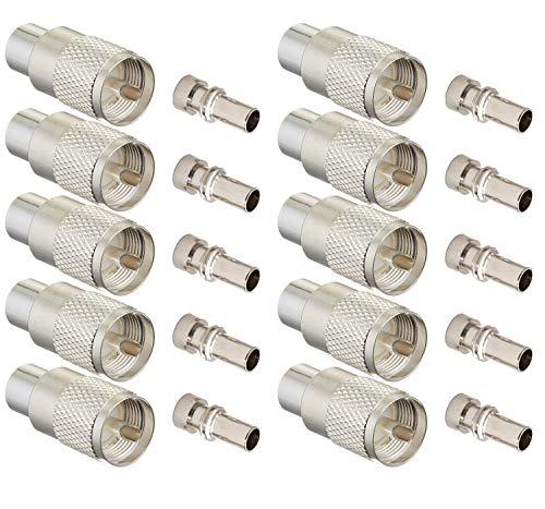 Silber Uhf/Pl-259 Lötkoax-Stecker für 50 Ohm Verlustarmes Rg-8X Rg-213 Rg-214 9913 Hf-Kabel 10Er-Stück