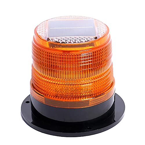 RISOON Solar Strobe Warning Safety Flashing Light/Ceiling Strobe Light, with Strong Magnetic Base Waterproof for Construction, Traffic, Factory, Crane Tower, Boat Navigation (Yellow)